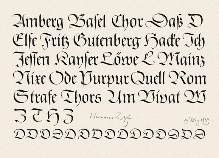 Original drawings for Gilgengart Fraktur by Hermann Zapf, dated March 19, 1939…