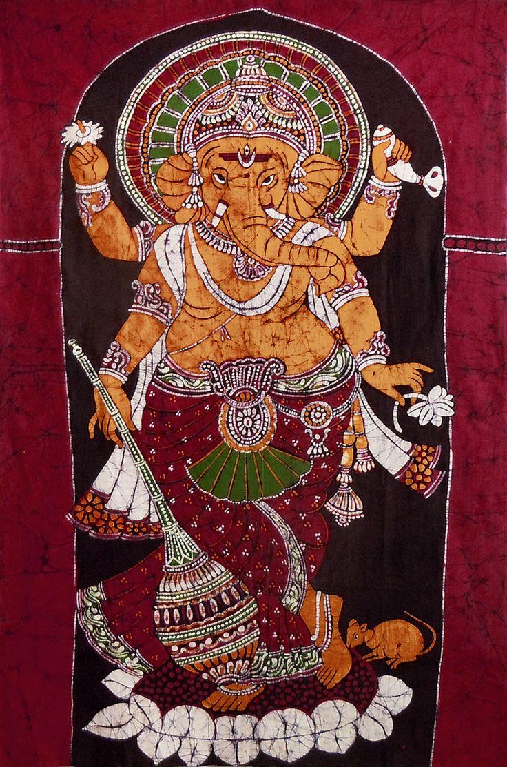 Lord Ganesha Standing on Lotus (Batik Painting on Cotton Cloth - Unframed)