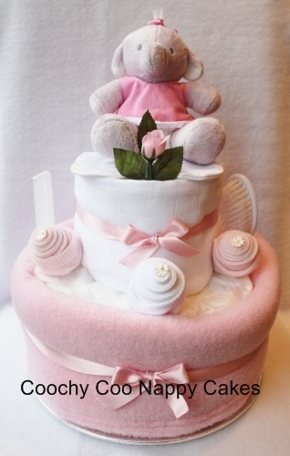 Baby girl Humphreys corner nappy cake