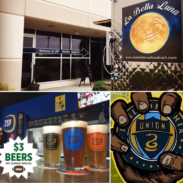 #SundayFunday! Headed to the @philaunion game today? Swing by 2SP for some pre & post game fun. @labellalunafoodcart will be serving the grub from 1-7pm. $3 Delco Session 4.2 & 2SPils pints during all NFL games.  #nflspecials #philadelphiaunion  #doop #craftbeer #pabreweries #madeindelco #foodtrucks