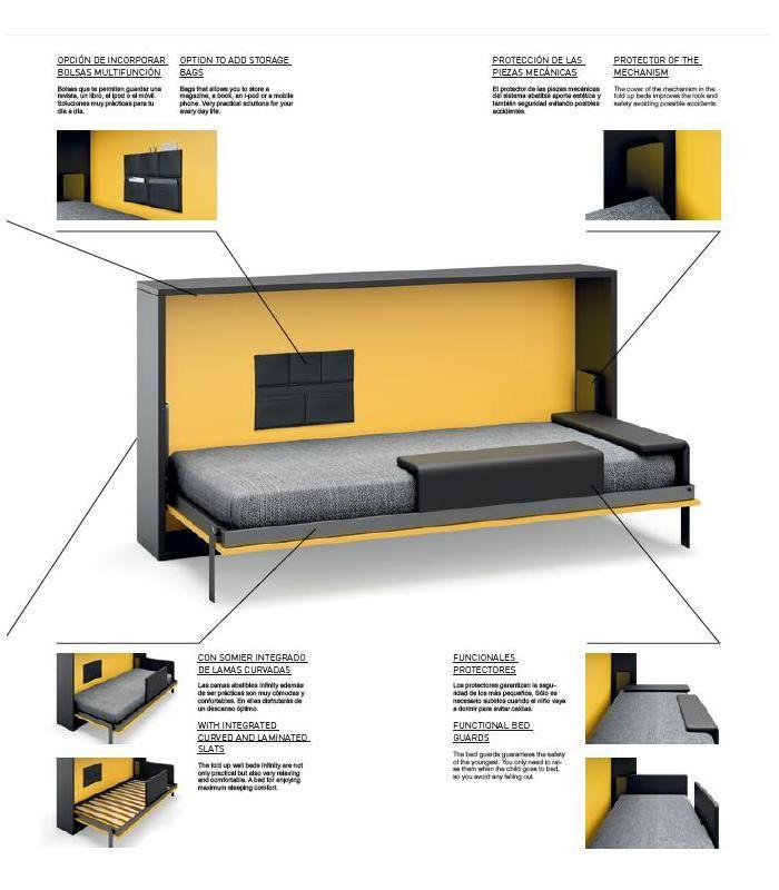 Encuentra la solución para tus problemas de espacio. Ambiente juvenil con cama abatible modelo INFINITY 25. Gran diseño y calidad.