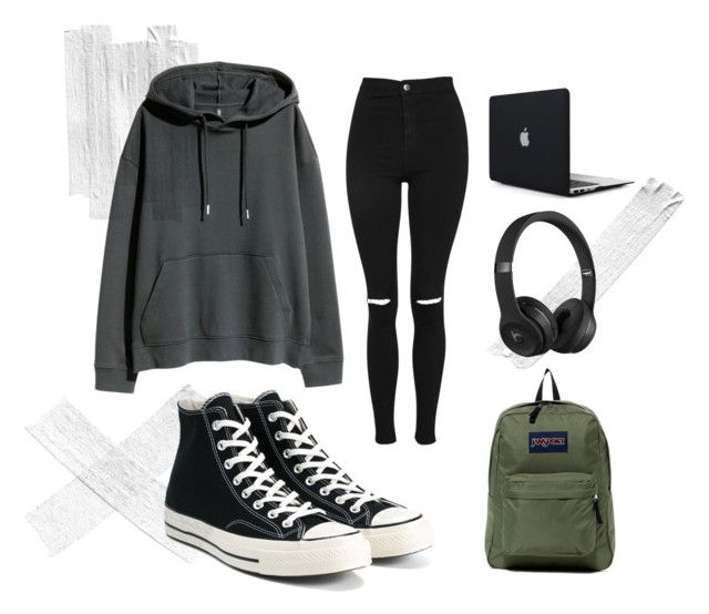 """""""Ty Blackthorn"""" by exploding-cat on Polyvore featuring moda, Topshop, H&M, Converse, JanSport e Beats by Dr. Dre ---- Ty --- Ty Blackthorn --- Blackthorn --- Tiberius Blackthorn --- introvert boy --- geek --- nerd ---Shadowhunters --- outfit fandom"""