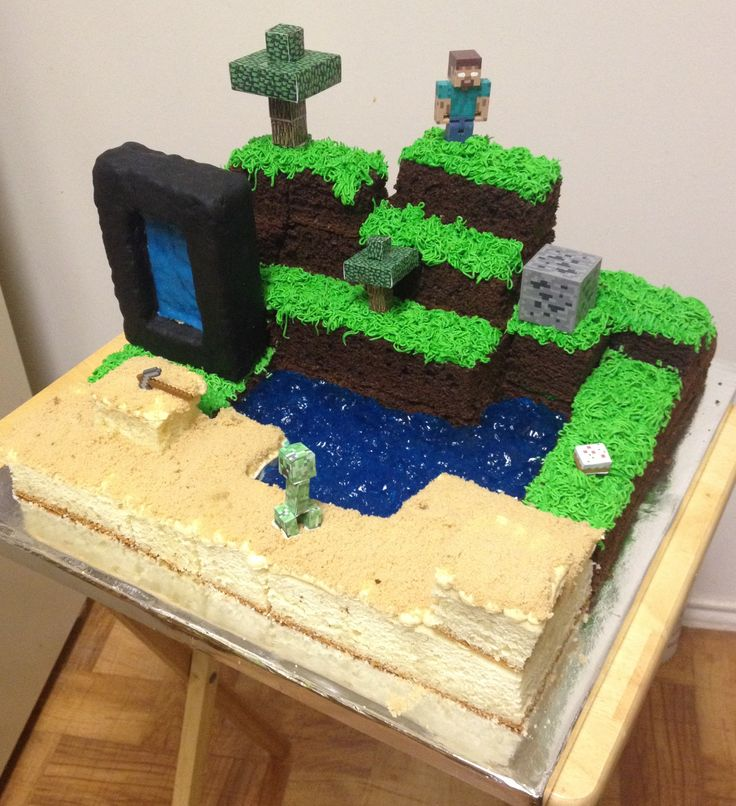 minecraft cake with nether portal herobrine and of course cake kirsten 39 s cakes. Black Bedroom Furniture Sets. Home Design Ideas