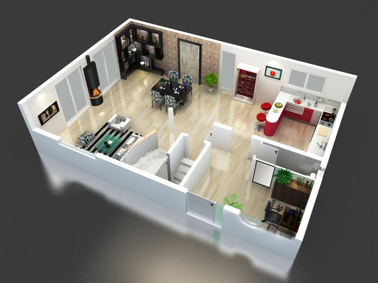 Plan maison tage en 3d modele maison mod le maison for Plan appartement 3d