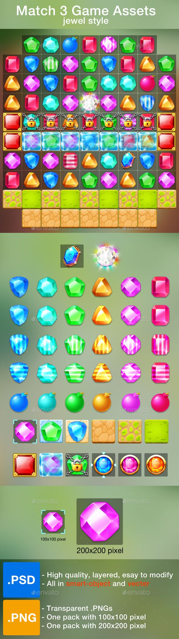 Match 3 Game Assets - All items needed for match 3 game in jewel style  - 6 different jewels with normal , bright , vertical and horizontal powered  - Included: 2 tiles , 4 kind of block , 2 kind locked ( lock and ice ) , 4 special items…  - All in high quality.