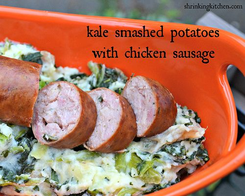 Kale Smashed Potatoes with Chicken Sausage