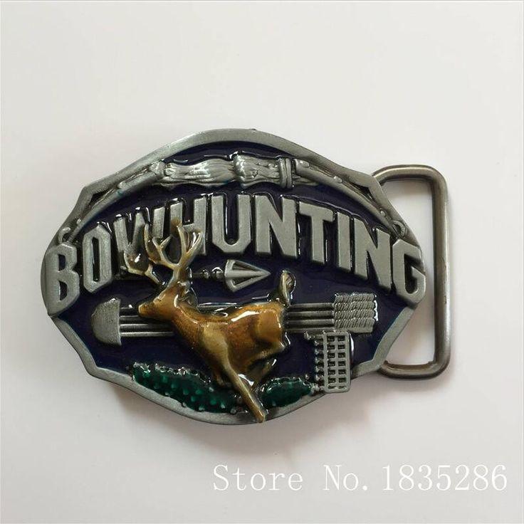 Bow hunting Deer Belt Buckle 8.4*6.4cm Oval For 1.57in Wide Belt Men Women Jeans