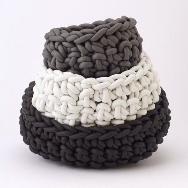 Entirely handmade by Rosanna Contadini with Neò from crocheted neoprene yarn.