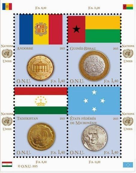 """AFNB - Boletim Virtual: Moedas e Bandeiras, em Selos - Lançamento UNPA - ONUEste é o sétimo ano da série de selos representandos as """"Moedas e Bandeiras"""" dos Estados-Membros das Nações Unidas. O lançamento da UNPA (Administração Postal das Nações Unidas), se deu em 6 de novembro de 2013, estão representados 24 países da ONU, os valores de face tem as seguintes denominações US$ 0,45, CHF 0,85 e  € 0,70. A série está prevista para ser executada por aproximadamente oito anos, até completar os…"""