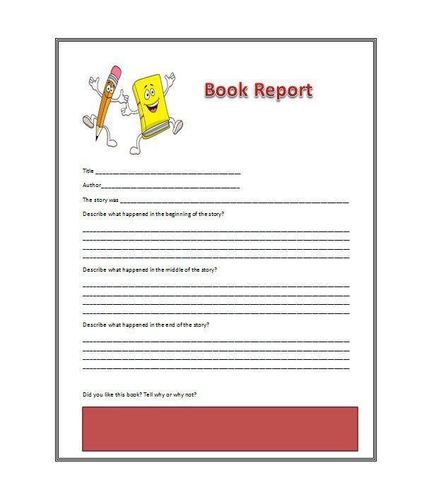 Book Report Sample template Book report templates, Report