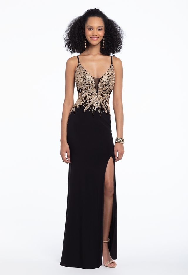 2b026b5ade4f This sexy long prom dress is a classic choice: from the plunging neckline  and metallic embroidered bodice to the column skirt with side slit, this  must have ...