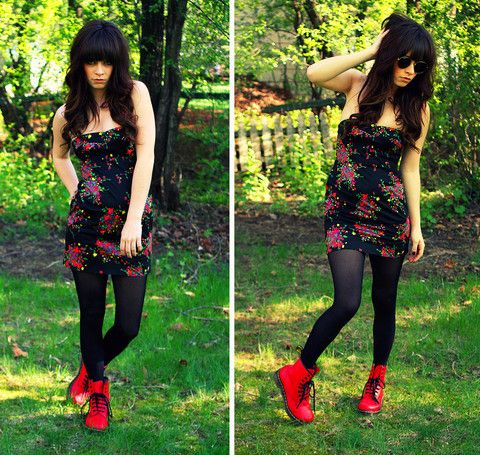 Free People Strapless Floral Dress, Tights, Dr. Martens Red Boots, Ray Ban Sunglasses, Http://Www.Jaglever.Com