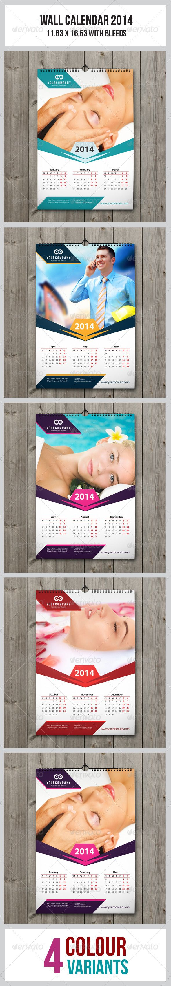 Wall Calendar 2014  #GraphicRiver         This simple and generic Wall Calendar perfectly use for Multipurpose Wall Calendar. Easil