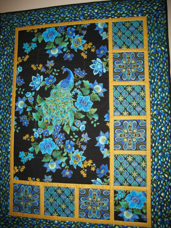 Peacock Quilted Wall Art In Timeless Treasure Plume Fabric