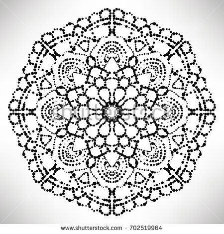 Ornamental round dotted flower isolated on white background. Black halftone mandala. Geometric round element. Vector illustration.