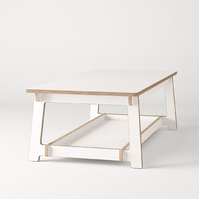 T coffee table + shelf whi Unto This Last