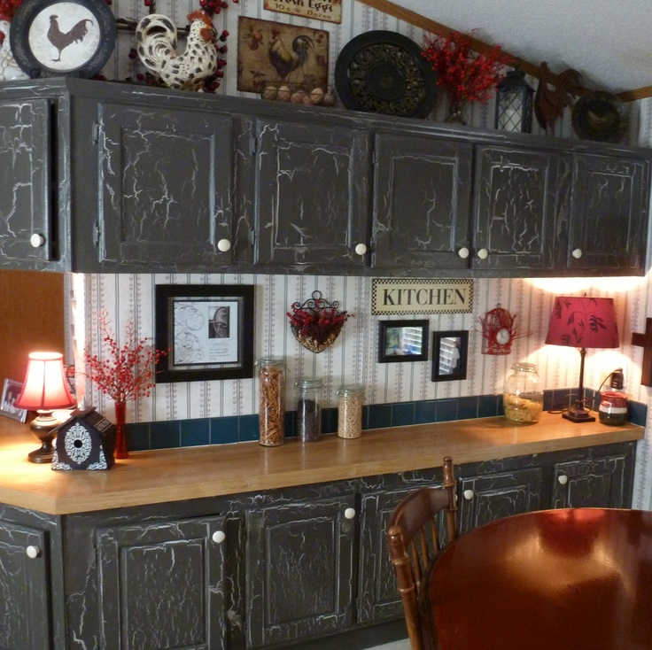 attractive Crackle Paint On Kitchen Cabinets #2: Old kitchen cabinets crackled with light and dark grey! We even covered the  glass inserts