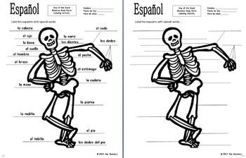 Spanish Day of the Dead / Halloween Body Parts Label the Skeleton Act ...