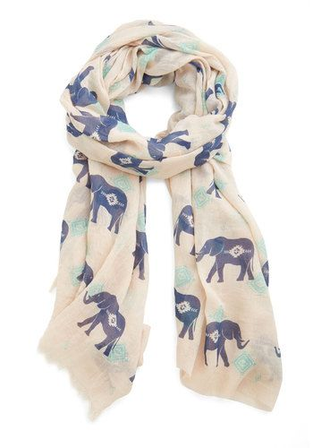 Got the Whole Pachyderm Scarf - Cotton, Sheer, Woven, Multi, Print with Animals, Safari