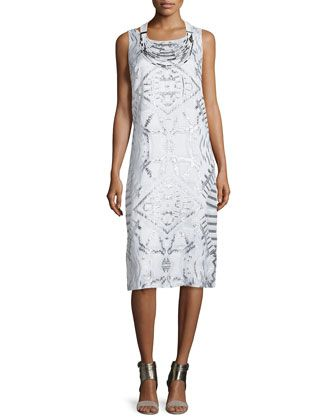 Lola+Sleeveless+Fil+Coupe+Dress+&+Multi-Strand+Embellished+Necklace+by+Lafayette+148+New+York+at+Neiman+Marcus.