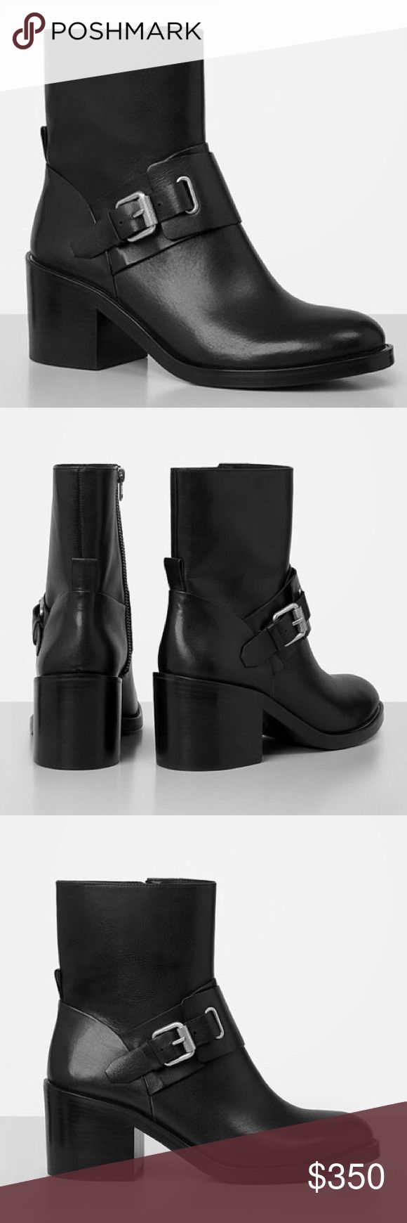 """ALLSAINTS Balenciaga """"Minkka"""" Moto Ankle Booties The Minkka Boot will work all-year round! Designed with Balenciaga's motorcycle biker vibe in mind, this beauty is crafted from smooth, genuine calfskin leather and finished with a silver-toned roller buckle fastening in a high ankle silhouette. 2.75"""" block heel. Made in Italy. Overall EXCELLENT condition, worn once to try on around house. Comes with original box. All Saints Shoes Combat & Moto Boots"""
