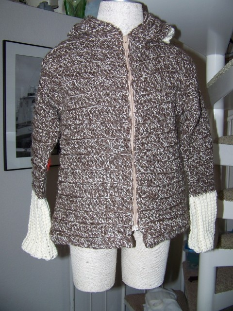 Sock Monkey Hoodie Crocheted Wool Sweater  Made to Size up to Size 3T. $85.00, via Etsy.
