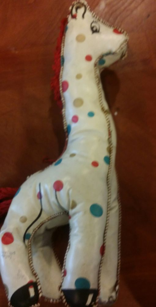 GIRAFFE baby toy 1960s Vintage squeeze vinyl polka dotted  much loved #Unbranded
