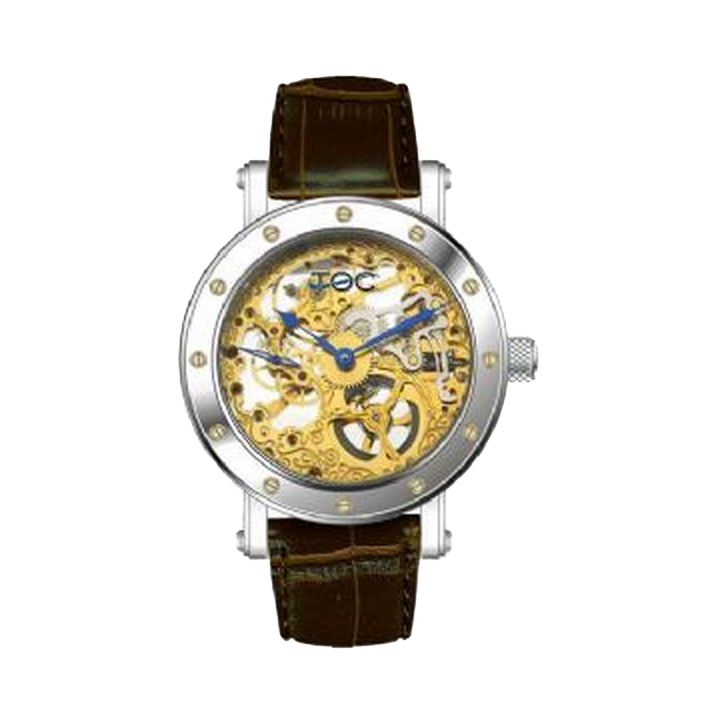 mens t o c skeleton exposed gold movement