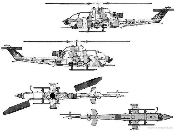 Bell AH-1S Cobra templates views | blueprint pesawat ...
