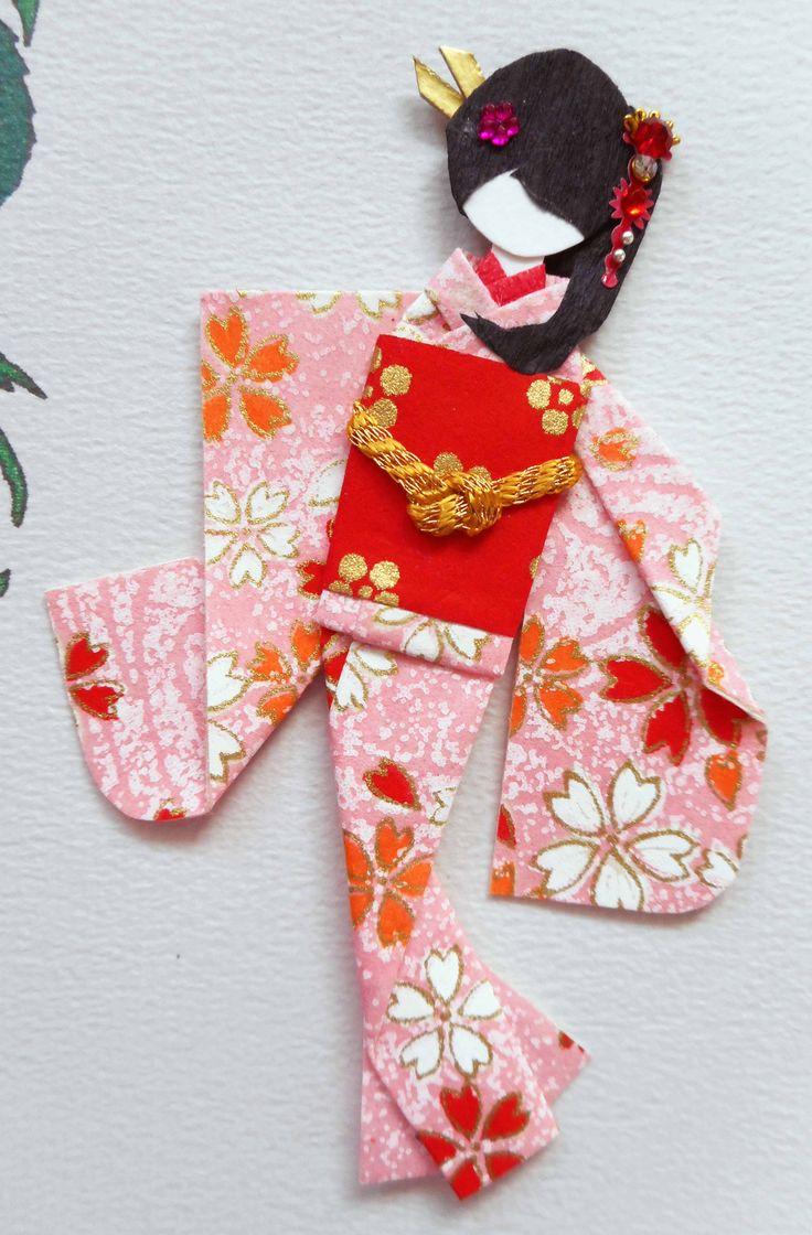 All-purpose handmade card 48 - closeup of doll.