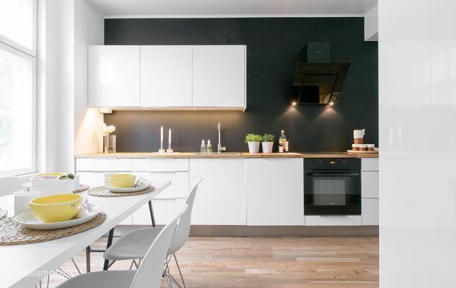 Cuisine blanche et bois fond noir kitchen dining - Cuisine blanche et noire ...