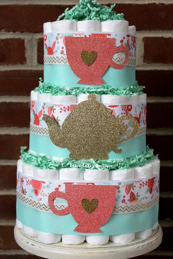 3 Tier Shabby Chic Tea Party Diaper Cake by BabeeCakesBoutique