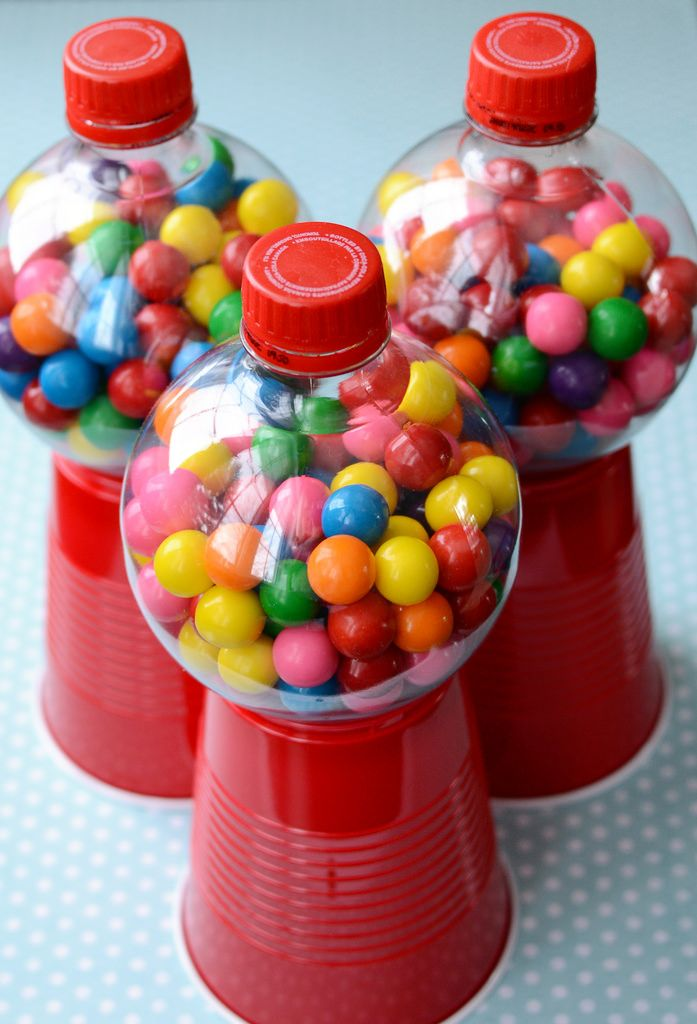 Gum ball machine using red solo cups, and small round coke bottles.