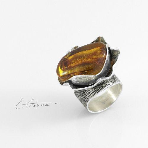 naturalny bursztyn,unikat,biżuteria artystyczna - Pierścionki - Biżuteria w ArsNeo
