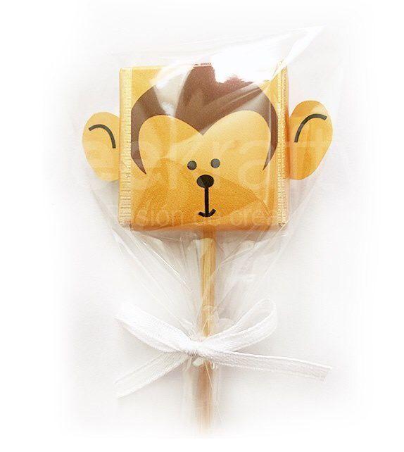 Choco piruleta de monito. Consíguelas en www.beekrafty.com Las personalizamos con lo que quieras! #beekrafty #pasionporcrear
