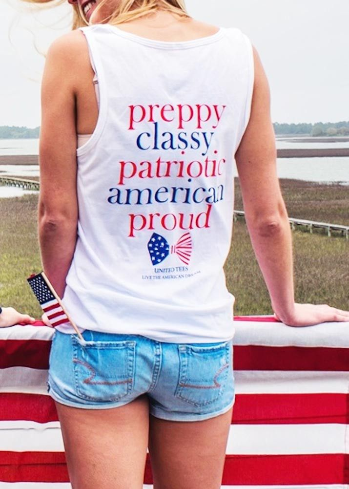 For American ladies, this is the ultimate preppy & patriotic tank top for Summer 2015. Live the American Dream while looking cute & showing your american pride. Order while your size is still in stock- quantities are LIMITED.