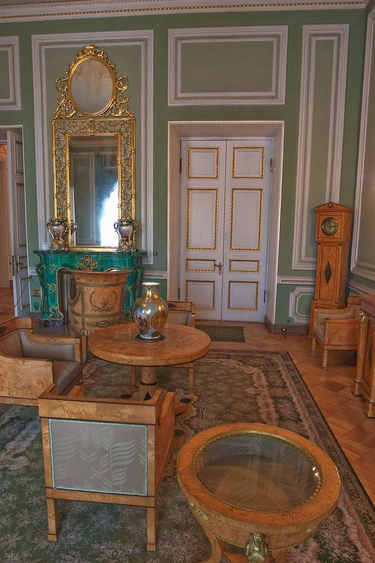 Green Parlor of the Yusupov Palace. Saint Petersburg, Russia
