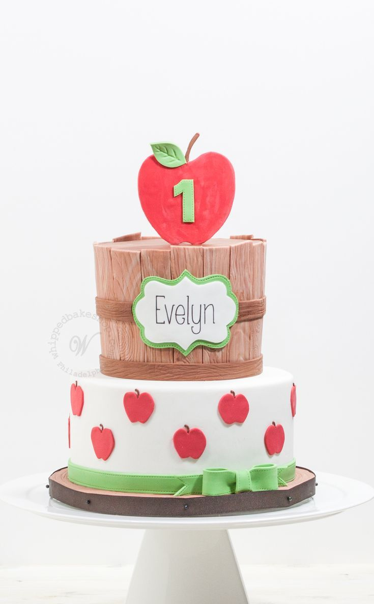 Whipped Bakeshop S Custom Apple Themed 1st Birthday Cake Click The Image To Inquire About Your Next P Apple Birthday Fall Birthday Cakes Fall 1st Birthdays