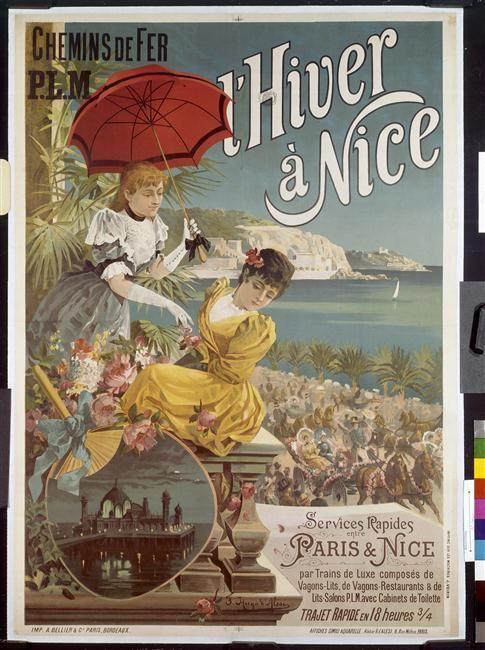 chemins de fer plm hiver nice affiche publicitaire touristique 1896 vintages affiches. Black Bedroom Furniture Sets. Home Design Ideas