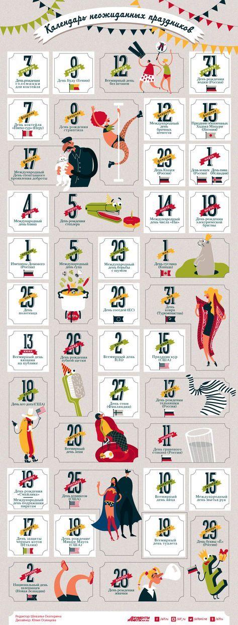 Календарь неожиданных праздников. Инфографика | Инфографика | Вопрос-Ответ | Аргументы и Факты