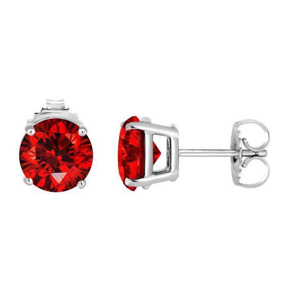 Platinum Fancy Red Diamond Stud Earrings 2 12 Carat Certified Handmade