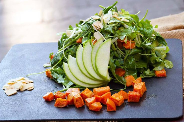 Green salad with grilled sweet potato, green onion, green apple, almond fillet and dressing of tarragon vinegar.Paparouna Wine Restaurant & Cocktail Bar | Our dishes are ready!!!