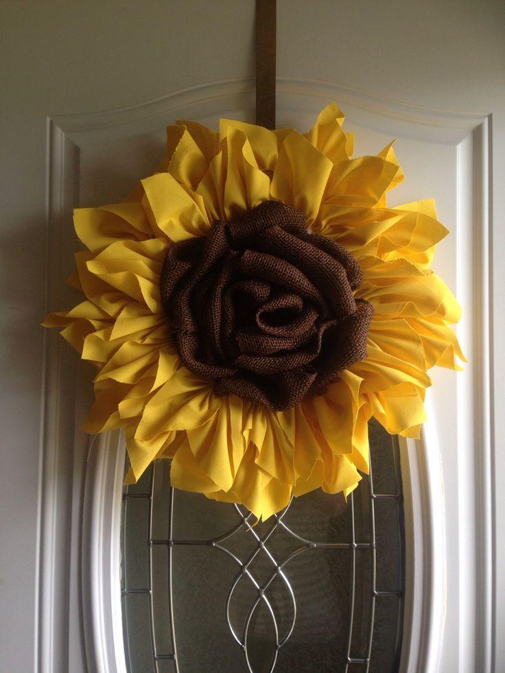 """""""Sunflower"""" Pumpkin Little Designs Handmade Goods & Door Décor https://www.etsy.com/listing/232389144/sunflower-wreath-small-handmade-cloth"""