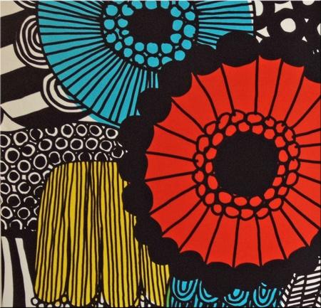 Marimekko 'Siirtolapuutarha' fabric wall art in red, blue, yellow and pink 60x60x4cm