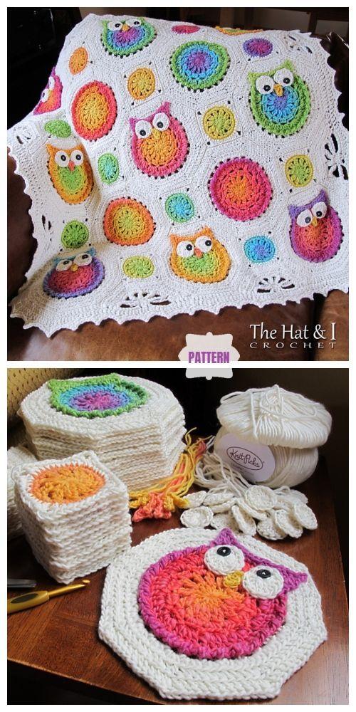Owl Granny Square Blanket Crochet Patterns