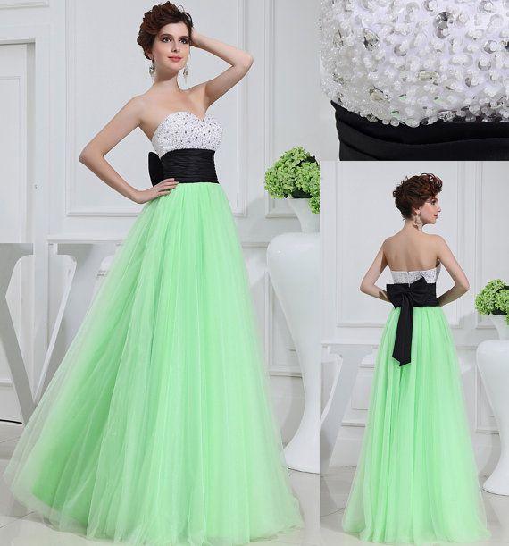 Sweetheart Floor Length long Prom Dress/Graduation Dresses/mint green beading prom dresses/formal evening dress/homcoming dress