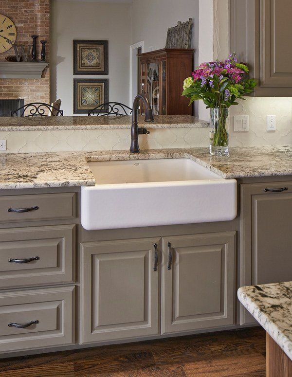 kitchen countertop ideas white ice granite countertop apron sink hardwood flooring - Kitchen Cabinet Colors