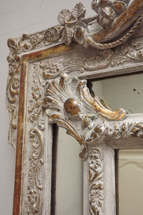 Large French, Antique Cushion Mirror c1890~Beautiful!  Certainly Makes a Bold Statement~❥