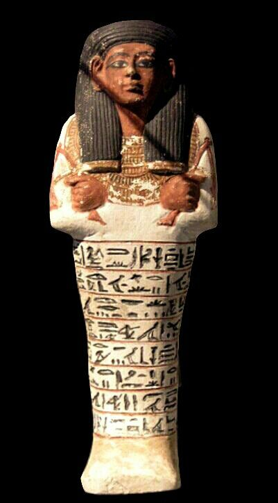 """Painted limestone ushetbi of Sennedjem. From the text on the body: """"The Osiris, the one who hears the voice in the Place of Truth, Sennedjem true of voice."""" Sennedjem was Chief Decorator of the Houses of Eternity (tombs) of the Ramesside royals. 19th dynasty, ancient Egypt, reign of Seti I, Rameses II."""