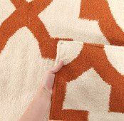 Flat Weave Trellis Design Orange White Rug 225x155cm